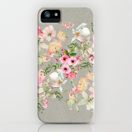 Floral Art Floral Vale Pewter iPhone Case
