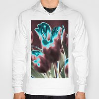 popart Hoodies featuring TULIPS - BROWN-BLUE - Popart by CAPTAINSILVA