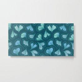 Beautiful ginkgo biloba leaf. Hand drawn illustration pattern Metal Print