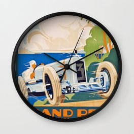 French Vintage Grand Prix poster Wall Clock