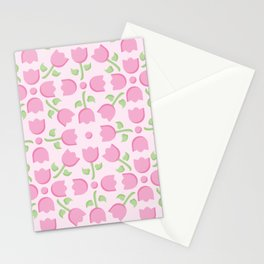 Pink Tulip Pattern Stationery Cards