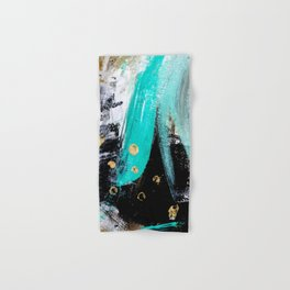 Fairy Dreams: an abstract mixed media piece in black, white, teal, and gold Hand & Bath Towel