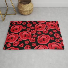 Red roses in Russian folk style on a black background Rug
