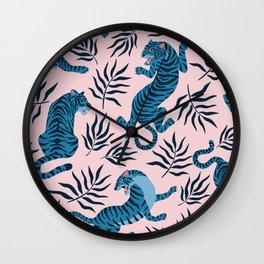 Blue asian tigers Wall Clock