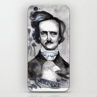 edgar allan poe iPhone & iPod Skins featuring Edgar Allan Poe by JsuauG