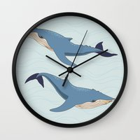 whales Wall Clocks featuring Whales by Evgeniya Ivanova