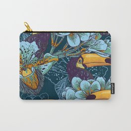 Tropical seamless parrern with flowers and Toucan Carry-All Pouch