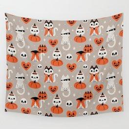 Halloween Kitties (Gray) Wall Tapestry