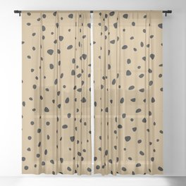 Cheetah Spots animal print minimal wild cat speckles and dots Ginger yellow Sheer Curtain