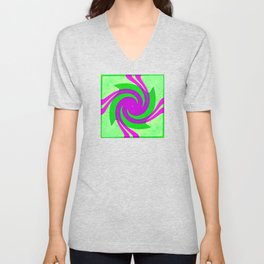Colorful purple and green spiral swirling elliptical constellation star galaxy abstract design Unisex V-Neck