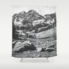 Maroon Bells Black and White Shower Curtain
