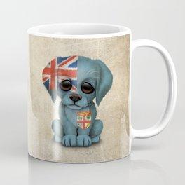 Cute Puppy Dog with flag of Fiji Coffee Mug