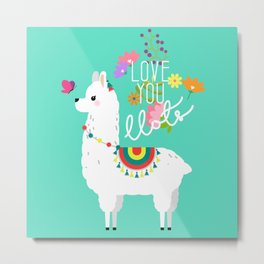 Floral llama with butterfly Metal Print