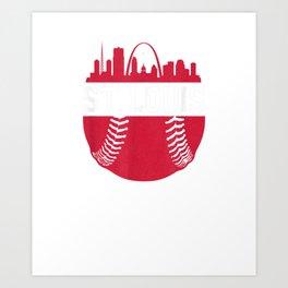 Vintage St. Louis Baseball Skyline Cardinal Retro Gift T-Shirt Art Print