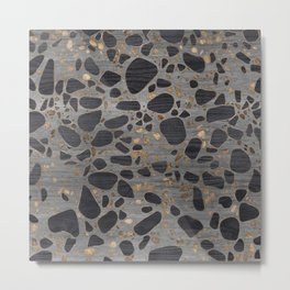 Terrazzo - Mosaic - Wooden texture and gold #1 Metal Print