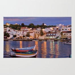 Ferragudo at dusk, Portugal Rug
