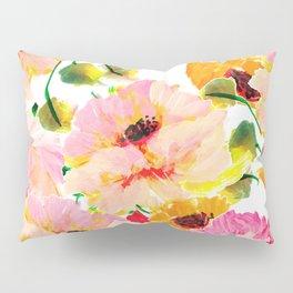 pink orange poppies floral Pillow Sham