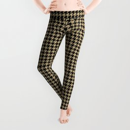 Christmas Gold and Black Houndstooth Check Leggings