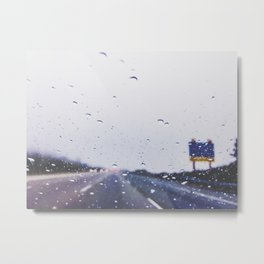 on the road with the rain storm Metal Print