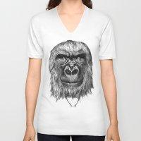 gorilla V-neck T-shirts featuring Gorilla  by Кaterina Кalinich