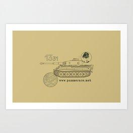 Michael Wittmann Panzer Ace 1331 Kursk Sand/Olive Green Art Print