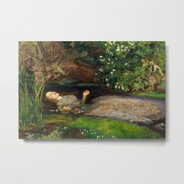 Ophelia Painting by John Everett Millais Metal Print