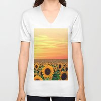 sunflower V-neck T-shirts featuring Sunflower by Don't Be A Dick