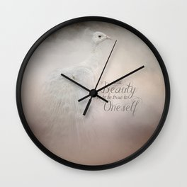 Real Beauty is to be True To Oneself White Peacock Wall Clock