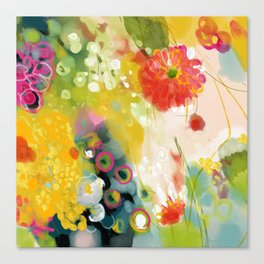 abstract floral art in yellow green and rose magenta colors Canvas Print
