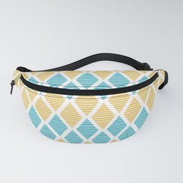Geometric pattern with striped rhombus in blue and yellow palette Fanny Pack