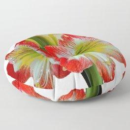 LARGE RED-WHITE AMARYLLIS FLOWERS ON WHITE Floor Pillow