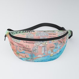 Barcelona Catalonia Spain Illustrated Travel Poster Favorite Map Tourist Highlights Fanny Pack