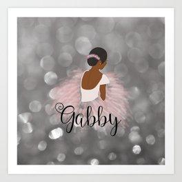 African American Ballerina Dancer Personalized Nam GABBY Art Print
