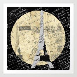 Eiffel Tower Moon Art Print