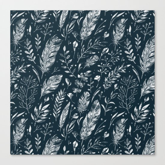 Feathers And Leaves Abstract Pattern Black And White Canvas Print