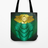 power ranger Tote Bags featuring Green Iron Ranger by Joshua Epling