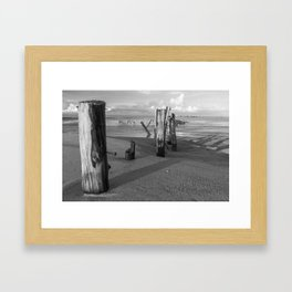 Black an white. Posts on Khao Lak beach, Thailand Framed Art Print