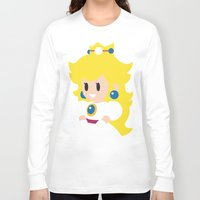 princess peach Long Sleeve T-shirts featuring Princess Peach - Minimalist  by Adrian Mentus