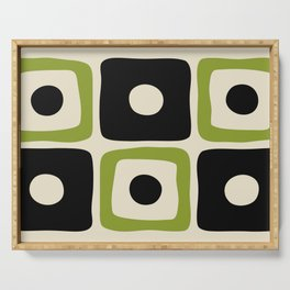 Mid Century Modern Square Dot Pattern 592 Black and Chartreuse Serving Tray