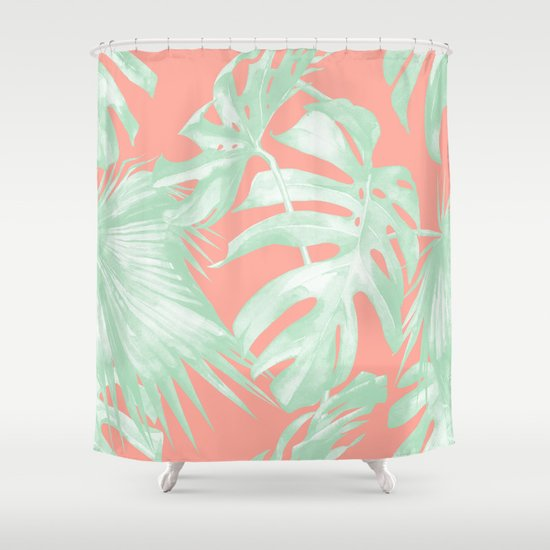 Island Love Coral Pink Light Green Shower Curtain By Simple Luxe Society6