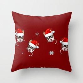 Christmas Chihuahua dog Throw Pillow