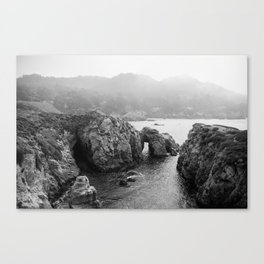 Ocean Arches - Black and White Landscape Photography Canvas Print