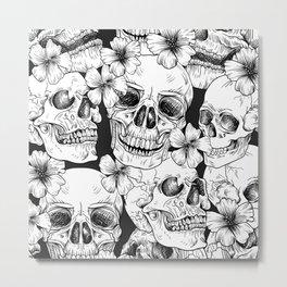 Skulls and Flowers Metal Print