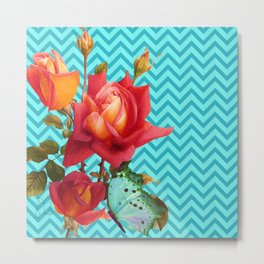 Floral Chevron, roses and butterfly aqua, turquoise Metal Print
