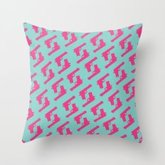 Mint and pink guns Throw Pillow