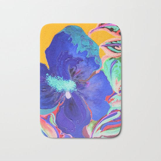 Birthday Acrylic Blue Orange Hibiscus Flower Painting with Red and Green Leaves Bath Mat