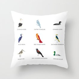 Cape Cod Birds: A Minimalist Field Guide Throw Pillow