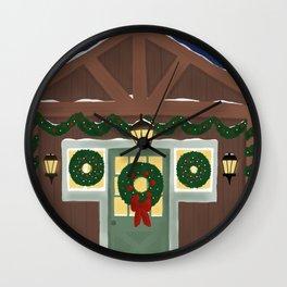 Rustic Christmas Night Wall Clock