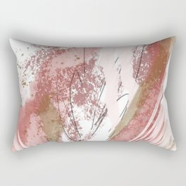 Sugar and Spice: a minimal, abstract mixed-media piece in pink and brown by Alyssa Hamilton Art Rectangular Pillow