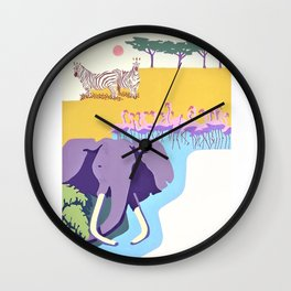 Poster with graphic african animals in strong colors Wall Clock